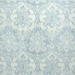 Damask Linen Fabric - Damask window treatments in a sky tint is the perfect way to finish off a room with a serene feeling. Sold by the yard.
