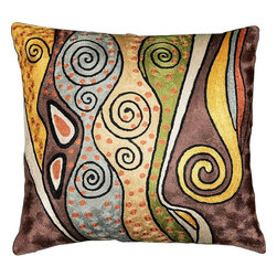 "Modern Silk - Klimt Art Nouveau Decorative Pillow Cover II Hand Embroidered 18"" x 18"" - Klimt art nouveau decorative pillow cover II Hand embroidered - Seeds, seed pods, tree of life symbols all speak of Gustav Klimt's symbolist paintings. Chaotic colors give it an spirited essence similar to jazz album covers of the 50s (compare Dave Brubeck's 'Take 5' album cover). A 15th century handcraft based on 19th century painting reminiscent of 20th century album covers done by 21st century handcrafters. What could be more perfect? The hand-dyed Kashmir wool embroidery on a cotton back and base makes a durable and easy care cover to update the old or accentuate the new."