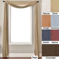 None - Martinique 6-yard Window Scarf - This window scarf valance will add flowing beauty and elegance to your home''s windows. Made of a lightweight,polyester-linen blend,these six-yard window scarves come in a variety of colors including sage,merlot,chambray,and almond.
