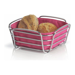 Blomus - Delara Bread Basket, Pink, Small - The Blomus Delara Bread Basket is made with chrome-plated steel and cotton fabric insert.