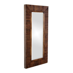 Allan Andrews - Timberlane Rustic Wood Plank Framed Mirror - This rustic wood-framed mirror gives you a versatile option for your bedroom or living area. Its faux walnut staining gives it a classic look,and its constructed design offers a touch of elegance. This mirror is also made to be easy to install.