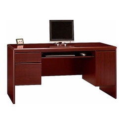 Bush - Wooden Credenza w Concealed CPU Storage - Nor - The Northfield Credenza with CPU Compartment and Storage can optioned with a variety of complementary additions to form the office suite of your dreams.  Luxury and convenience features of this unit include a full-width keyboard shelf and concealed CPU compartment. * 8-way rounded radius edges. Durable melamine worksurface. File drawer holds letter- or legal-size files. Concealed vertical CPU compartment. Full-width keyboard shelf included. Box drawer for miscellaneous supplies . 61.575 in. W x 23.346 in. D x 30.709 in. H