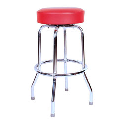 Richardson Seating - Richardson Seating Retro 1950s Backless Swivel Bar Stool with Red Seat-30 Inch - Richardson Seating - Bar Stools - 1950RED -Richardson Seating Floridian's Floridian collection ships within 2 business days as quick ship items. The 50's retro look bar stool collection is back with added comfort and stylish design. The Floridian collection are commercial bar stools made in the USA, and equally ideal for residential use.