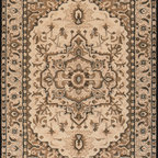 Nejad Rugs American Home Classic Rug Collection - HERIZ T012 - Taupe / Black. The American Home Classic Rugs are a magnificent collection of expertly handmade rugs featuring gorgeous traditional and transitional designs at remarkable prices. The dense pile is Hand-Tufted of 100% Wool with some styles containing beautiful Silk Highlights. Imported from India and China.