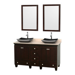 "Wyndham Collection - 60"" Acclaim Double Vanity w/ Ivory Marble Countertop & Altair Black Granite Sink - Sublimely linking traditional and modern design aesthetics, and part of the exclusive Wyndham Collection Designer Series by Christopher Grubb, the Acclaim Vanity is at home in almost every bathroom decor. This solid oak vanity blends the simple lines of traditional design with modern elements like beautiful overmount sinks and brushed chrome hardware, resulting in a timeless piece of bathroom furniture. The Acclaim comes with a White Carrera or Ivory marble counter, a choice of sinks, and matching mirrors. Featuring soft close door hinges and drawer glides, you'll never hear a noisy door again! Meticulously finished with brushed chrome hardware, the attention to detail on this beautiful vanity is second to none and is sure to be envy of your friends and neighbors"