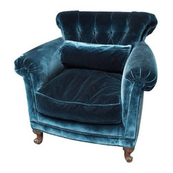 Peacock Blue Silk Velvet Club Chair - $1,650 Est. Retail - $850 on Chairish.com -