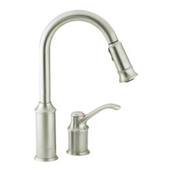 "Moen - Moen 7590CSL Aberdeen High-Arc Single-Handle Kitchen Faucet (Stainless Steel) - Moen 7590CSL is part of the ABERDEEN collection. Moen 7590CSL has a Classic Stainless finish. Moen 7590CSL is a new style deck moun"" high Arc Pulldown Kitchen faucet. Pullout spray has 68? braided hose and has Hydrolock quick connect installation. Moen 7590CSL mounts in a 2-hole sink, has an 8 1/2"" long and 15"" high arc spout and a full 8 1/8"" from deck to aerator. Moen 7590CSL Single lever handle provides ease of operation. Moen 7590CSL is part of the Aberdeen kitchen collection with its pause button feature allowing user to conveniently interrupt water flow and still keeping its classic style but with surprisingly nimble functionality. Classic Stainless has a Lifeshine finish guarantee from Moen and provides style and durability. Moen 7590CSL metal lever handles meets all requirements of ADA ASME A112.18.1/CSA B125.1, NSF 61/9. Proposition 6"". Lifetime Limited Warranty."