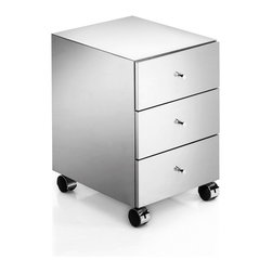 WS Bath Collections - Runner Drawer Unit - Runner by WS Bath Collections Three Drawers Unit on Wheels, Drawer Unit Includes Three Drawers In Polished Stainless Steel On Wheels, Made in Italy
