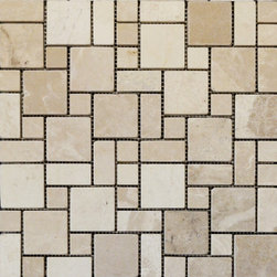 STONE TILE US - Stonetileus 20 pieces (20 Sq.ft) of Mini French Pattern Botticino Tumbled - Mini French Pattern Botticino Specifications: Coverage: 1 Sq.ft size: French Pattern - 1 Sq.ft/Sheet Sheet mount:Meshed back Stone tiles have natural variations therefore color may vary between tiles. This tile contains mixture of Ivory - light brown - yellow - white and color movement expectation of low variation, This natural stone Mosaic comes with the convenience of high quality and easy installation advantage. This tile has Split Face surface, and this makes them ideal for walls, kitchen, bathroom, outdoor, Sheets are curved on all four sides, allowing them to fit together to produce a seamless surface area. Recommended use: Indoor - Outdoor - Low traffic Recommended areas: Mini French Pattern Botticino - Tumbled tile ideal for walls, kitchen, bathroomFree shipping.. Set of 20 pieces, Covers 20 sq.ft.