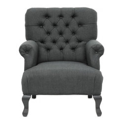 TOV Furniture - York Grey Linen Club Chair - The traditional chair has foam cushioning, button tufting, scroll-shaped armrests and sturdy birch frame and legs. The linen upholstery offers an understated look and hint of modernity. This York Chair is designed to maximize elegance and relaxation. Perfect for impressing your friends or curling up next to the fireplace with the book!
