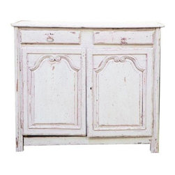 Pre-owned Normandy Painted Buffet - This traditional painted buffet circa the mid-18th Century retains it's original paint and hand forged hardware. Doors feature deep hand carved details. Two drawers and one interior shelf for storage. Gray paint with red under paint.     Please note there is damage to bottom left support.