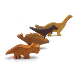 Happy Bungalow - Wooden Dinosaurs in a Bag Play Toy Set - These wood dinosaurs roar prehistoric times to life. Tyrannosaurus-Rex, Brontosaurus / Apatosaurus, Stegosaurus, and Triceratops. Every dinosaur is handmade in the USA with domestic hardwoods. Each wood dinosaur is sanded smooth and finished with a natural and non-toxic beeswax finish. There are no stains, dyes, or paint used - the colors you see are the natural wood.