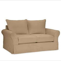 """PB Comfort Slipcovered Loveseat, Knife-Edge, Down-Blend Wrap Cushions, Twill Wal - Sink into this loveseat just once, and you'll know how it got its name. Designed with extra-deep seats and three layers of thick padding on the arms and back, this eco-friendly collection invites a whole family to relax together. 68.5"""" w x 40"""" d x 37"""" h {{link path='pages/popups/PB-FG-Comfort-Roll-Arm-4.html' class='popup' width='720' height='800'}}View the dimension diagram for more information{{/link}}. {{link path='pages/popups/PB-FG-Comfort-Roll-Arm-6.html' class='popup' width='720' height='800'}}The fit & measuring guide should be read prior to placing your order{{/link}}. Choose polyester wrapped cushions for a tailored and neat look, or down-blend for a casual and relaxed look. Choice of knife-edged or box-style back cushions. Proudly made in America, {{link path='/stylehouse/videos/videos/pbq_v36_rel.html?cm_sp=Video_PIP-_-PBQUALITY-_-SUTTER_STREET' class='popup' width='950' height='300'}}view video{{/link}}. For shipping and return information, click on the shipping tab. When making your selection, see the Quick Ship and Special Order fabrics below. {{link path='pages/popups/PB-FG-Comfort-Roll-Arm-7.html' class='popup' width='720' height='800'}} Additional fabrics not shown below can be seen here{{/link}}. Please call 1.888.779.5176 to place your order for these additional fabrics."""