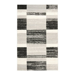 Safavieh - Safavieh Retro Contemporary Rug X-4-9709-2962TER - Safavieh channels the Sixties with Retro Shag, a cool new spin on the essential floor covering of mid-century modern style. The perfect complements to clean-lined furniture of the period, these chic black and white designs morph into tones of gray, silver and ivory in patterns from Pollack-inspired abstracts to contemporary graphics. Machine-loomed in Turkey of 100 percent polypropylene, our low-pile Retro Shag rugs combine beauty, easy care and outstanding performance.