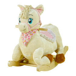 Rockabye - Rockabye Princess Pony Rocker - Another uniquely designed western style horse but styled for your little Princess to ride. Sure to delight your little cowgirl. She has a cute bandanna, a soft saddle, fun squeakers in her ears and the softest fabrics. Press the buttons on the back of her head to activate original songs that teach ABC 1-10 colors shapes and more. A great set for twins when combined with Colt Pony Rocker.