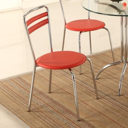 Chintaly Candy Contemporary Dining Side Chairs - Set of 2 - The sweet look of the Chintaly Candy Contemporary Dining Side Chairs - Set of 2 makes you almost believe they may be cherry flavored. The sleek metal frame features a shiny chrome finish. The red PVC upholstery adds a fun accent to these modern chairs.About Chintaly ImportsBased in Farmingdale, New York, Chintaly Imports has been supplying the furniture industry with quality products since 1997. From its humble beginning with a small assortment of casual dining tables and chairs, Chintaly Imports has grown to become a full-range supplier of curios, computer desks, accent pieces, occasional table, barstools, pub sets, upholstery groups and bedroom sets. This assortment of products includes many high-styled contemporary and traditionally-styled items. Chintaly Imports takes pride in the fact that many of its products offer the innovative look, style, and quality which are offered with other suppliers at much higher prices. Currently, Chintaly Imports products appeal to a broad customer base which encompasses many single store operations along with numerous top 100 dealers. Chintaly Imports showrooms are located in High Point, North Carolina and Las Vegas, Nevada.