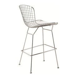 Fine Mod Imports Wire Bar Stool - Pull up three or four of these classic wire stools to a large kitchen island for a casual yet stylish dining experience.