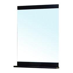 Bellaterra Home - Solid Wood Frame Mirror-Black - Solid wood frame with mirror, shelf on the bottom of the mirror add extra shelf space. Dimension: 29.5 W x 5.2 D x 33.4 H