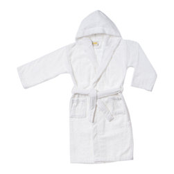 Superior Egyptian Cotton Kids Hooded Unisex Terry Bath Robe - Large - White - Lounge in the lap of luxury with this heavenly soft Egyptian cotton robe. These durable superior bath robes are designed specially for children. Available in two sizes and six exquisite colors.