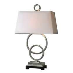 Uttermost - Uttermost Baselos Table Lamp w/ Rectangle Hardback Shade in White Linen - Table Lamp w/ Rectangle Hardback Shade in White Linen belongs to Baselos Collection by Uttermost Silver leaf finish over metal with a matte black foot. The rectangle hardback shade is a white linen fabric. Table Lamp (1)