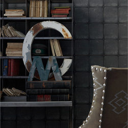 Kathy Kuo Home - British Industrial Old Tile Wallpaper - Charcoal - This tricky trompe l'oeil wallpaper realistically brings the look of tile to your favorite eclectic setting. Available in your choice of muted colors, it's the ultimate in quirky sophistication.