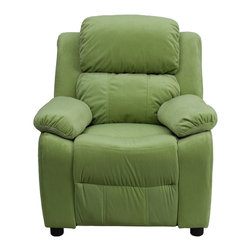 Flash Furniture - Deluxe Heavily Padded Contemporary Avocado Microfiber Kids Recliner - Kids will now be able to enjoy the comfort that adults experience with a comfortable recliner that was made just for them! This chair features a strong wood frame with soft foam and then enveloped in durable microfiber upholstery for your active child. Choose from an array of colors that will best suit your child's personality or bedroom. This petite sized recliner features storage arms so kids can store items away and retrieve at their convenience.