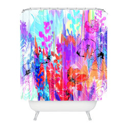 DENY Designs - Holly Sharpe Summer Rain Shower Curtain - Who says bathrooms can't be fun? To get the most bang for your buck, start with an artistic, inventive shower curtain. We've got endless options that will really make your bathroom pop. Heck, your guests may start spending a little extra time in there because of it!