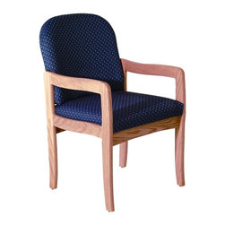 Wooden Mallet - Upholstered Arm Chair w Wood Frame & Light Oa - Fabric: Arch WinePictured in Light Oak with Blue Arch fabric finish. 1 In. thick solid oak frame. Extra thick seat and back cushions. Full length, fully upholstered, arched backs lend style and comfort. Minimal assembly required. Made in the USA. Complies with California TB 117 fire code. 1-Year limited warranty. Weight capacity: 400 lbs. per seat. 26 in. D x 21.5 in. W x 37 in. H (28 lbs.). Seat dimension: 16.5 in. D x 19.5 in. W x 14.5 in. H. Seat height: 19 in.. Arm height: 25 in.Wooden Mallet's Dakota Wave Prairie series with its full length, fully upholstered back offers graceful styling for sophisticated good looks. This standard leg model is for those who desire a more traditional, elegant look. This chair is constructed of solid oak with a state-of-the-art finish for beauty and durability. Choose from dozens of stain and fabric combinations to customize this chair for any décor or contact us to learn about supplying your own fabric for a personalized look. Choose this chair as part of our complete Dakota Wave collection of coordinating lobby essentials.