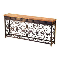 "Gate Console Table - Bring the beauty of bold  hand-hammered copper and iron into your living area with the Gate Console Table. Handmade with an ornate  hand-forged iron base in an Oxido Pintura finish and a recycled  high-quality Mexican copper top  this table features impeccable craftsmanship and style. Measures 69""W x 12""D x 30""H. ~ Ships from the manufacturer. Allow 4 to 8 weeks."
