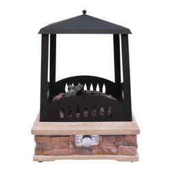 Landmann - Grandview Gas Fireplace 24 in. - 24 in. L x 24 in. L  x 33 in. H (80 lbs). Burn Surface Area:  400 sq. in.. Fuel Type:  Propane. BTU Rating:  38,000. Contemporary styled gas fire pit with decorative tear drop cutouts on firebox. The flickering firelight provides a nice ambiance for any outdoor gathering. Includes lava rocks & 3 faux logs. Includes large, easy to grip control knob for fire control. Includes stainless steel ring burner. Includes electronic push button igniter. Large sturdy base with an attractive stacked stone design provides stability and support. Tapered top with decorative finial