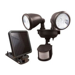 MAXSA - MAXSA INNOVATIONS 44216 Dual-Head Solar Spotlight (Dark Bronze) - 4 super-bright LEDs; Detects motion up to 30ft away within a 150 area; Dual adjustable light heads cover a wide area; Activates up to 150 one-minute cycles when fully charged; 9ft cable; 3 rechargeable NiMh batteries; Dark Bronze