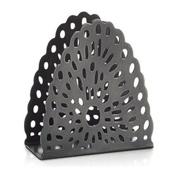 Swag Small Napkin Holder - Cutout swag design adds festive appeal to this upright napkin holder, crafted of iron and hand finished to give it the look of a prized antique. Due to its handcrafted nature, holders will vary slightly. Available two sizes: large to hold dinner napkins and small for beverage napkins.