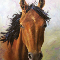 Oil Paintings by Cheri Wollenberg - Horse Fine Art Print, Run Wild, Giclee Canvas Print - 22x30 Canvas Giclee Print