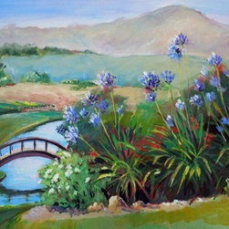 Agapanthus, Napa Valley (Original) by Lynda Pike - This painting describes the Napa Valley, Ca in early summer.