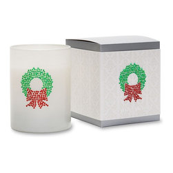 Primal Elements - Christmas Wreath Icon Candle in White Glass - The wreath has a crisp leafy green fragrance. Each hand poured, vegetable wax blend candle features a unique hand jeweled crystal icon on white glass. Thirteen-ounce ICON Candles have an approximate burn time of 50 hours.