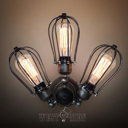 3 light squirrel cage bare bulb sconce articulate arm ceiling light multi applic - BELLA is newest glass dome Wall Sconce lamp flush mounted bell jar wall lights 2014 new design best combination of modern sconce and Edison industrial incandescent bulb lamp style
