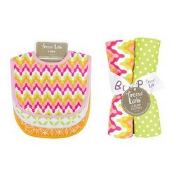 """Trend Lab - Bouquet Set - Savannah - Bib & Burp Cloth - Keep messes to a minimum with this stylish Savannah Bib and Burp Cloth Set by Trend Lab. Set includes three bibs and four burp cloths each with fun, modern printed cotton on the front and terry on the back. Bib patterns include: one vibrant chevron print in paradise and petal pink, tiger orange, chartreuse green, and white with pink trim; one white and chartreuse green lattice print with white trim; and one tiger orange and white geometric circle print with orange trim. Burp cloth patterns include: one vibrant chevron print in paradise and petal pink, tiger orange, chartreuse green, and white; one chartreuse green and white mini dot print; one white and chartreuse green lattice print; and one variegated stripe print in paradise and petal pink, tiger orange, chartreuse green, and white. Each bib measures 9"""" x 12"""" with Velcro closure and each burp cloth measures 10"""" x 13"""". Bib and Burp Cloth Set coordinates with the Savannah collection by Trend Lab."""