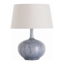Arteriors - Cumberland Porcelain Lamp - Bring out the blue in your favorite room with this appealing table lamp. The banded, wide bulb base, treated to layers of glaze, rises to a slender neck and lofts a simple white shade.