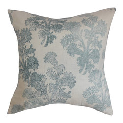 "The Pillow Collection - Eara Floral Pillow Aqua 18"" x 18"" - This elegant throw pillow is designed to bring texture and style to your home. This accent pillow offers an aqua blue and natural color combination highlighting a romantic floral pattern. This square pillow fits various decor styles and settings, including your living, room, lounge area or bedroom. Style this 18"" pillow with solids or mix it with other patterns like toile, geometric and ikat. Made from 100% linen material. Hidden zipper closure for easy cover removal.  Knife edge finish on all four sides.  Reversible pillow with the same fabric on the back side.  Spot cleaning suggested."