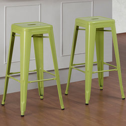 None - Tabouret 30-inch Limeade Metal Bar Stools (Set of 2) - Bring a playful look to your kitchen with this set of two lime-colored metal bar stools. Their durable stainless-steel construction and scratch-resistant powder coat will keep them in good shape for years to come, and they stack easily for storage.