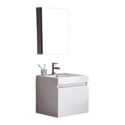 Fresca - Nano White Vanity w/ Medicine Cabinet Cascata Brushed Nickel Faucet - This vanity is striking in its simplicity.  Don't forget to check under the hood with the innovative storage system from Blum that includes a nested drawer.  Perfect for smaller bathrooms.  Many faucet styles to choose from.