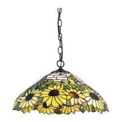Serena D'italia - Serena D'italia 9.5 in. Tiffany Sunflower Bronze Hanging Lamp TF7026HAN - Shop for Lighting & Fans at The Home Depot. The Sunflower Hanging Lamp has been handcrafted using methods first developed by Louis Comfort Tiffany. The shade contains pieces of stained glass, each hand-cut and wrapped in fine copper foil. The bright shade edged with beautiful sunflowers accents any room.