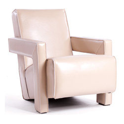Logan Chair - The 32 inch tall Logan wood chair features a contemporary chair design with stylish leather back. The complete wooden body of the Logan wood chair including legs has a cream leather finish to it. The stitch lines along the edges of the chair looks elegant with the clean cream leather finish of the Logan wood chair.