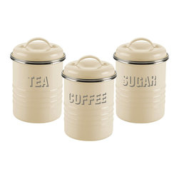 Typhoon - Labeled Tea, Coffee & Sugar Canister Set - Complete with an airtight silicone seal, your tea, coffee and sugar supply will stay fresh in this vintage-inspired set.   Includes three canisters and lids Each: 6.5'' W x 13'' H x 4.5''D Enamel / steel Hand wash Imported