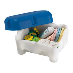 3-in-1 Sit and Store Tub-Side Seat - I love that this seat serves several purposes. It saves parents' knees and doubles as a step stool and storage bin.