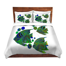 DiaNoche Designs - Duvet Cover Microfiber by Susie Kunzelman - Sailfish II - DiaNoche Designs works with artists from around the world to bring unique, artistic products to decorate all aspects of your home.  Super lightweight and extremely soft Premium Microfiber Duvet Cover (only) in sizes Twin, Queen, King.  Shams NOT included.  This duvet is designed to wash upon arrival for maximum softness.   Each duvet starts by looming the fabric and cutting to the size ordered.  The Image is printed and your Duvet Cover is meticulously sewn together with ties in each corner and a hidden zip closure.  All in the USA!!  Poly microfiber top and underside.  Dye Sublimation printing permanently adheres the ink to the material for long life and durability.  Machine Washable cold with light detergent and dry on low.  Product may vary slightly from image.  Shams not included.
