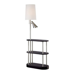 """Lamps Plus - Contemporary Triple Shelf Brushed Steel Espresso Floor Lamp - Create space add style and bring bright light to your room with this triple shelf floor lamp. As an added bonus this floor lamp also features a side reading lamp with its own on/off switch. Three espresso finish shelves give you space for magazines collectibles and more. An off-white linen shade and brushed steel finish on the metal base completes this contemporary design. Espresso finish. Brushed steel finish metal frame. Off-white linen shade. Takes one 150 watt bulb and one 40 watt bulb (not included). On/off pull chain for main bulb and on/off rotary switch on reader head. 66"""" high. Shelves are each 26"""" wide 12"""" deep. Shade is 10"""" across the top 12"""" across the bottom and 16"""" on the slant. Shelf heights from floor are 16"""" and 29"""".  Espresso finish.   Brushed steel finish metal frame.   Off-white linen shade.   Use as an end table or office accent.  Takes one 150 watt bulb and one 40 watt bulb (not included).   On/off pull chain for main bulb and on/off rotary switch on reader head.   66"""" high.   Shelves are each 26"""" wide 12"""" deep.   Shade is 10"""" across the top 12"""" across the bottom and 16"""" on the slant.  Shelf heights from floor are 16"""" and 29""""."""