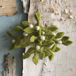 Felt Mistletoe Ornament - Don't feel guilty about using same mistletoe year after year, with this felt sprig. I like that this plant makes no attempts at hiding its artificialness. There's nothing worse than a fake flower pretending to be genuine.