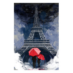 """Maxwell Dickson - Maxwell Dickson """"Rainy Night in Paris"""" Modern  Pop Art Canvas Print Artwork - We use museum grade archival canvas and ink that is resistant to fading and scratches. All artwork is designed and manufactured at our studio in Downtown, Los Angeles and comes stretched on 1.5 inch stretcher bars. Archival quality canvas print will last over 150 years without fading. Canvas reproduction comes in different sizes. Gallery-wrapped style: the entire print is wrapped around 1.5 inch thick wooden frame. We use the highest quality pine wood available."""