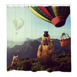 """Sharp Shirter - Hot Air Bearoons Shower Curtain - """"This curtain is printed in USA!. Hooks sold separately. Disclaimer: If you order multiple items, they may ship from separate locations."""""""